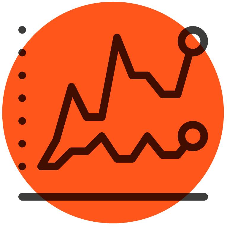 Ikon av grafer for årsrapport og kvartalsrapporter