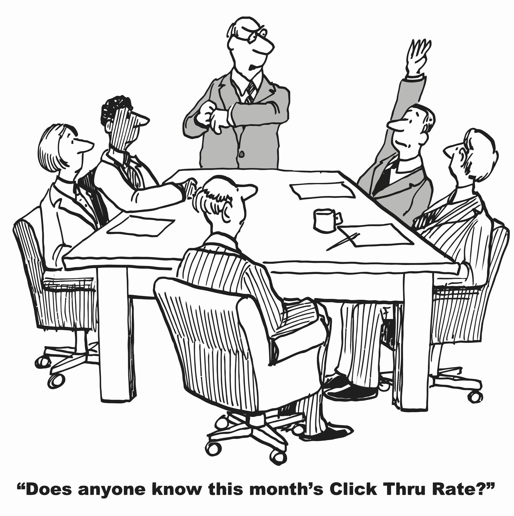 tegneserie med folk rundt et bord hvor det spørres om ctr