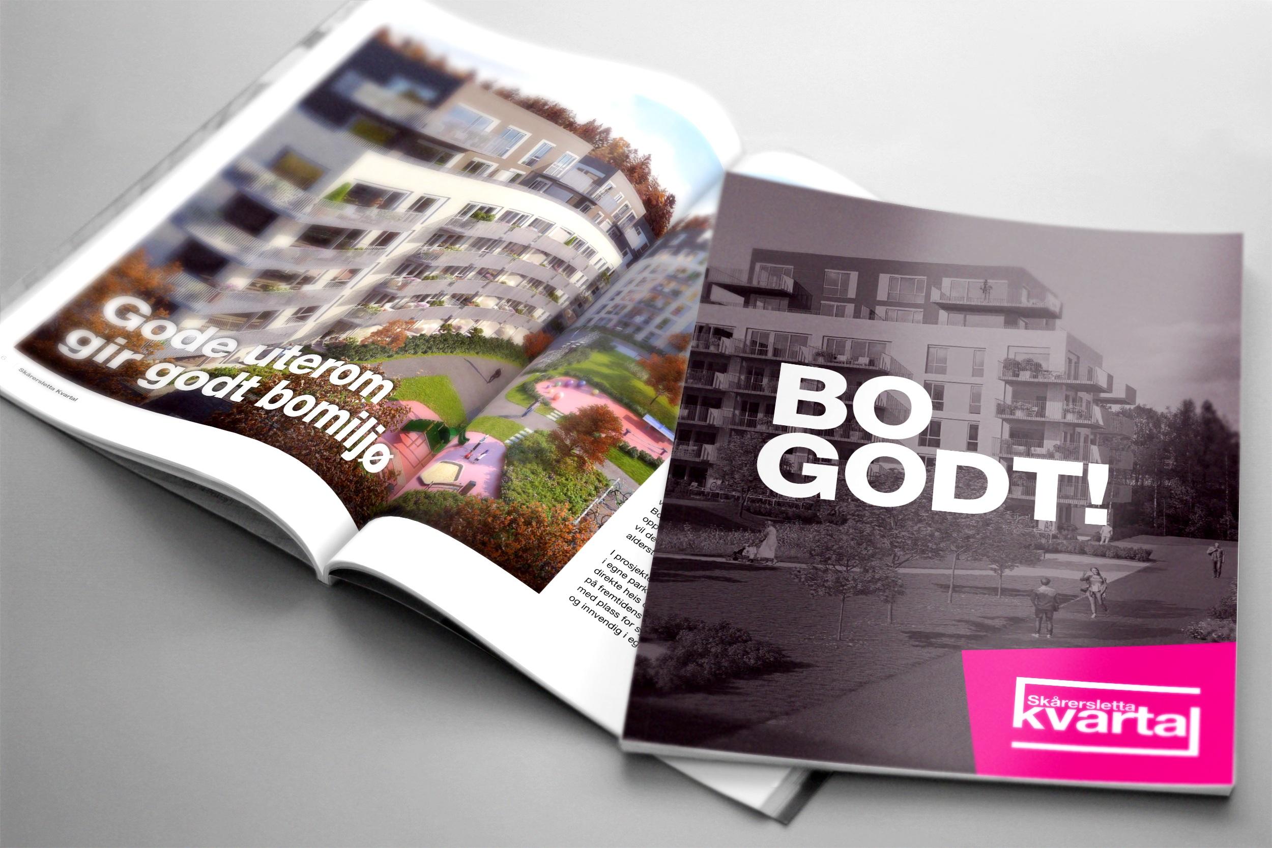 Bilde av oppslag og forside av prospektet til Skårersletta kvartal laget av Oktan Oslo