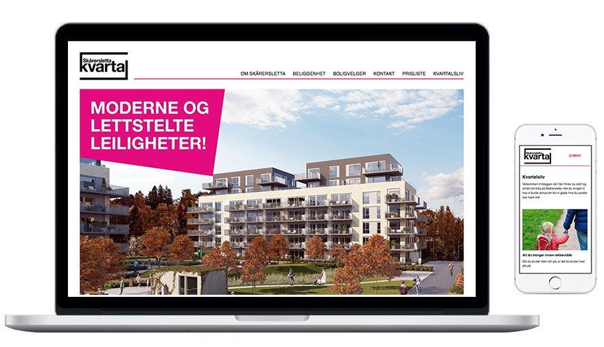 Illustrasjon av nettsidene på desktop og mobil laget av Oktan Oslo