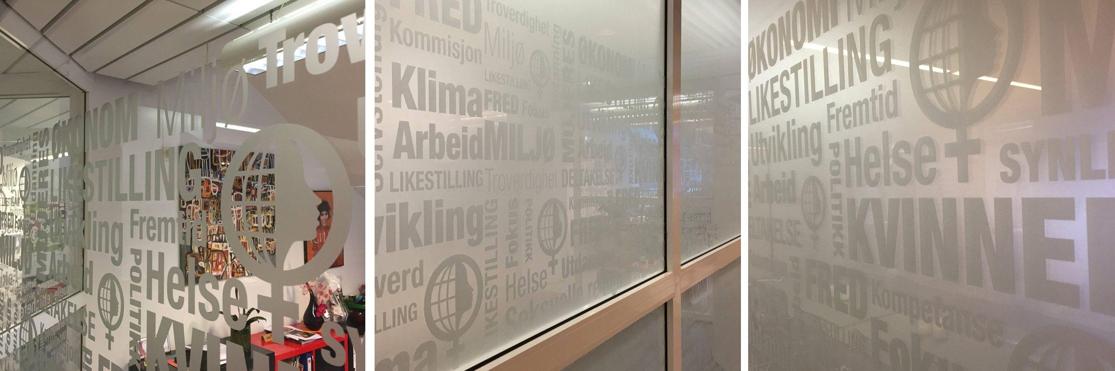 Vindusdekor i lokalene til Fokus laget av Oktan Oslo
