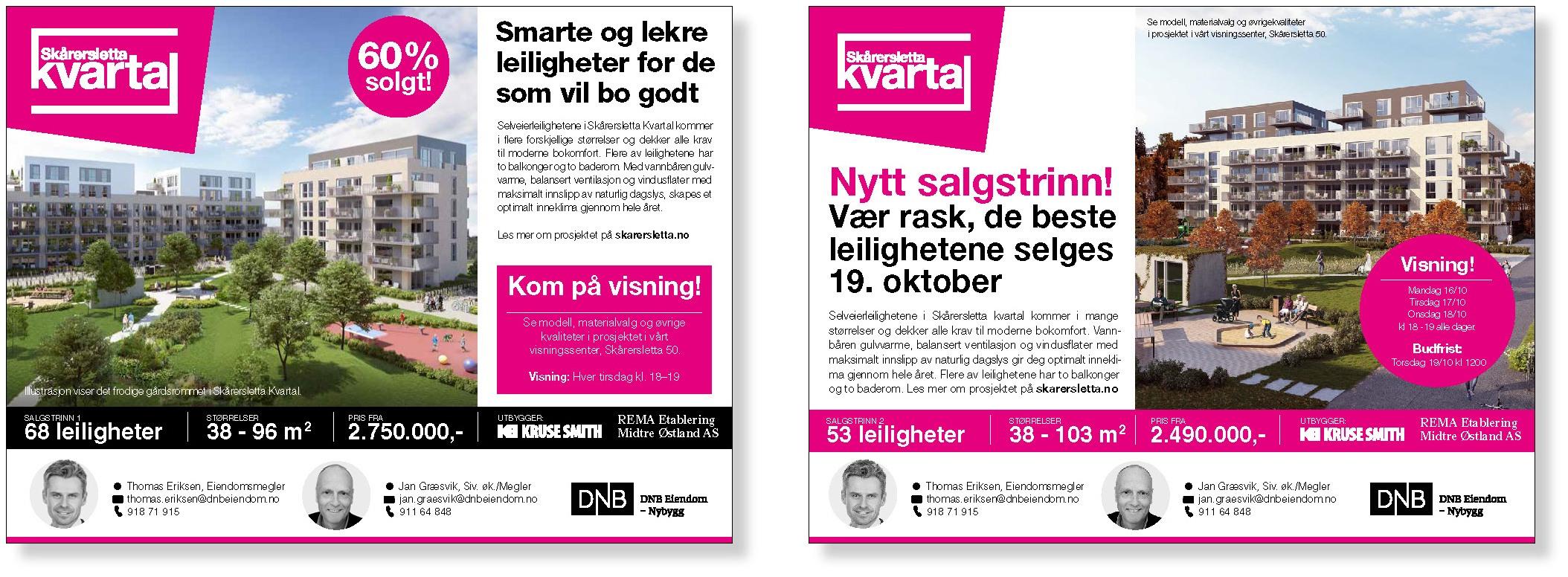 Annonser for Skårersletta kvartal laget av Oktan Oslo