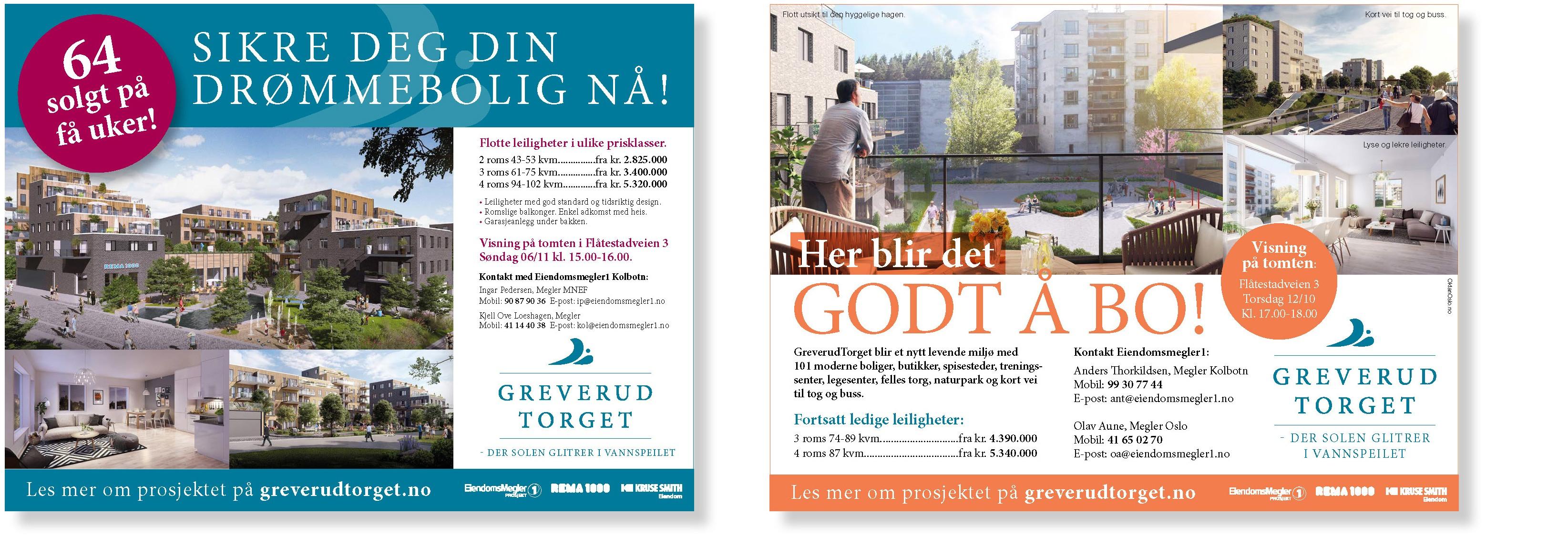 Annonser for GreverudTorget laget av Oktan Oslo