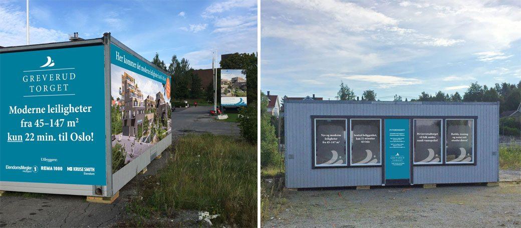 Visningssenter på GreverudTorget laget av Oktan Oslo