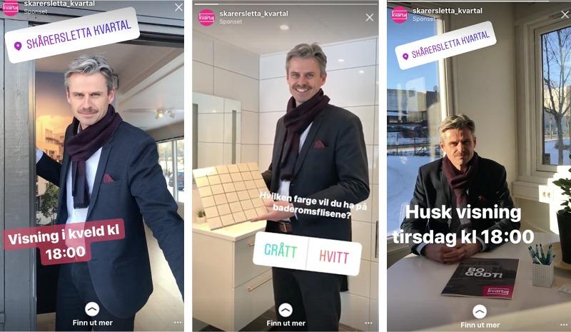 Tre vertikale annonser som er kjørt på Instagram Stories