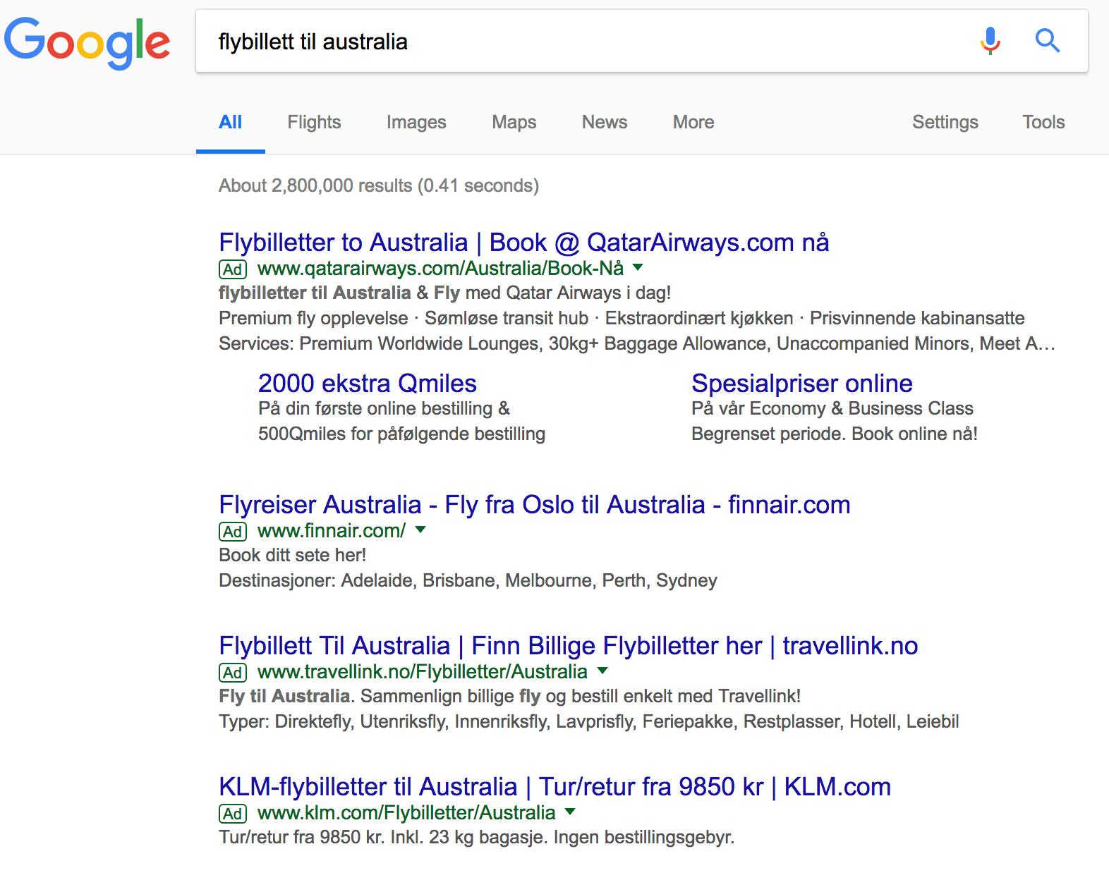 screenshot av søkeresultat etter flybillett til australia i google søkemotor