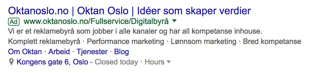 screenshot av adwords annonse for oktan oslo