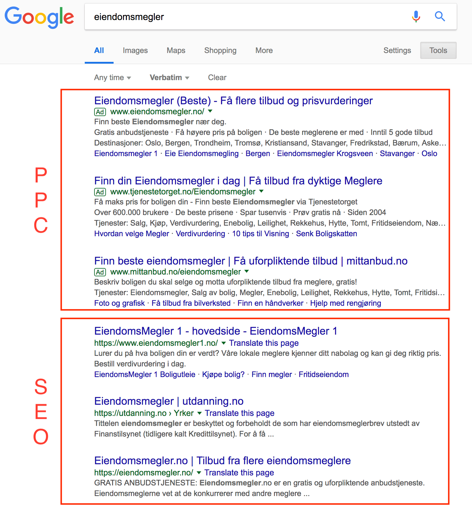 screenshot av søkeresultat i google som viser hva som er ppc og hva som er seo